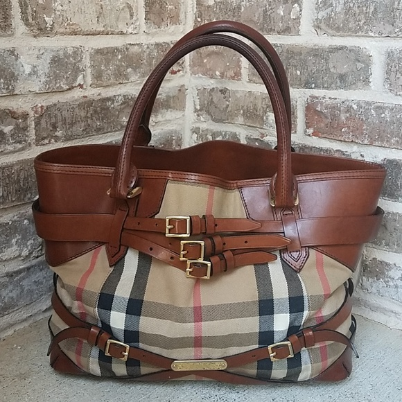 317768c236f Burberry Handbags - Large Burberry Bridle House Whipstitch Check Tote